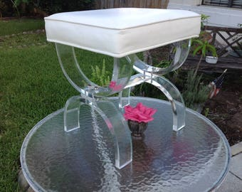 "LUCITE X BENCH / Hollywood Regency Style Lucite X Bench / Thick Lucite X Bench / 3/4"" Lucite Vanity Stool / Lucite Chair at Retro Daisy Girl"