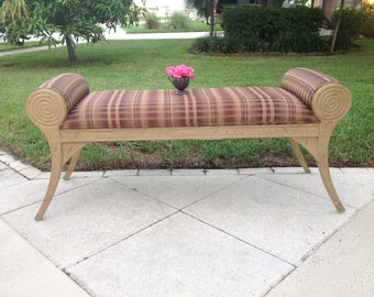 """HOLLYWOOD REGENCY STYLE BENCh / 56"""" long x 19"""" wide x 24 tall / Gorgeous Upholstered Bench Scroll Arms / Regency Style at Retro Daisy Girl"""