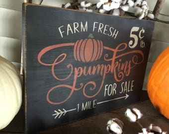 Primitive, Folk Art, Farm Fresh Pumpkins, wall sign