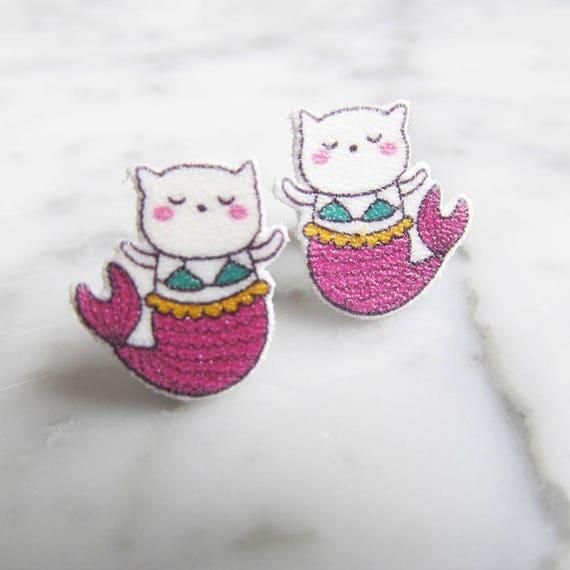 cat mermaid, white cat, pink, bikini cat, earring,  stud earring, print on plastic, stainless stud, handmade, les perles rares