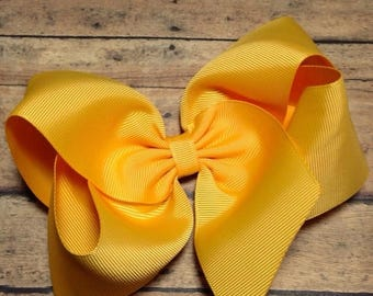SALE Yellow Gold Big 8 Inch Twisted Boutique Bow Bright Yellow Bow