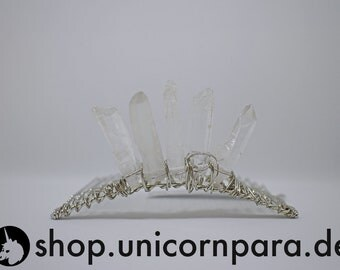 Garden of Light 3 Raw Quartz Point Tiara Clear and Silver