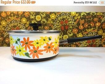SALE 50% OFF Vintage Prestige Enamel Saucepan Flower Power 70s Retro Campervan Orange Yellow