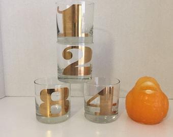 GOLD ROCK GLASSES, Number 1 and 2, Number 8, Mid Century Modern, Barware, Wedding Gift, Shower Gift, 22 Kt at Modern Logic