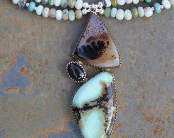 As above, so below - sterling silver designer necklace by EvyDaywear: New lander turquoise, dendritic quartz, black star diopside, blue opal