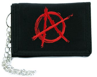 Red Anarchy Sign Tri-fold Wallet Alternative Clothing Punk Rock - YDS-EMPA-054-RED-Wallet
