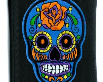 Blue Sugar Skull Tri-fold Wallet w/ Chain Day of the Dead Calavera Clothing - YDS-PA-BSGS-Wallet