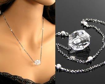 Swarovski Clear Crystal Necklace, Barrel Crystal Pendant Necklace, Sterling Silver Necklace, Crystal Prism, Ice Clear Swarovski Jewelry