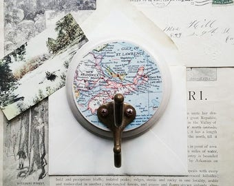 Canada Map Wall Hook, Hook Made From a Vintage Map of Nova Scotia, New Brunswick, Key Hook, Clothes Hanger, Rustic Travel Inspired Hook