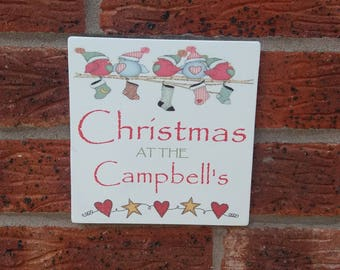 Personalized christmas wooden sign plaque  shabby chic