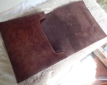 Leather Portfolio Large Portfolio Custom Leather Portfolio w/ 2 Pockets