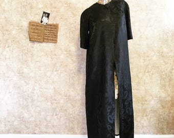 Vintage 60s Black Satin Long Coat with Single Button Three Quarter Length Sleeves   medium large