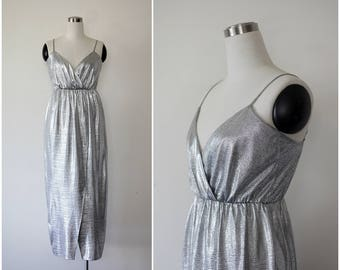 1980's Silver Dress, Party Dress, Metallic Dress, Strappy Evening Dress M L, Sparkly Glam Shimmer Empire Dress