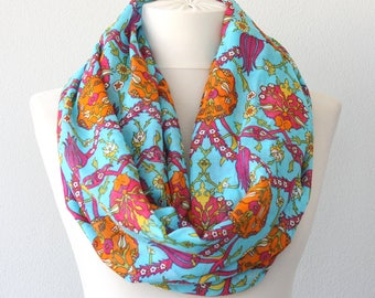 Turquoise blue loop scarf  floral Turkish scarf cotton infinity scarf iznik tile print tulip flower hatai motif valentines day gift for her