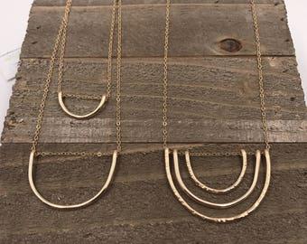 Arc Necklace-triple, single or dainty gold fill,modern,minamilist,geometric,metalwork,artisan, boho, arc,gift idea,christmas present