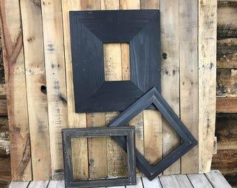 ON SALE - Black Picture Frame Set of 3, Rustic Set, 4x6, 2-8x10 Photo Frame, Gallery Frame Set, Lot 256
