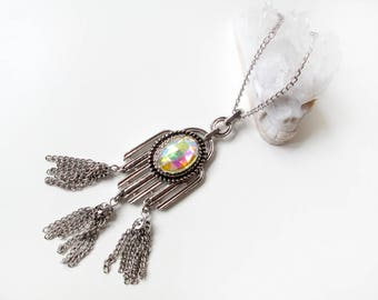 Sentinel Necklace - Vintage Deadstock Silver Tone Tassel Necklace with Aurora Gem