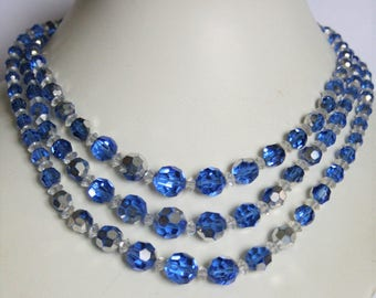 Vintage blue glass bead necklace. 3 row necklace.  3 strand necklace.  Vintage jewellery