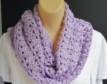 SALE Purple Scarf, Long Crochet Lacy Light Purple Knit Scarf for Women, Winter Neck Warmer Scarf Gift Idea