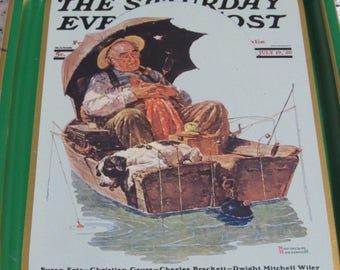 Norman Rockwell, Saturday Evening Post, Collectors Tray, Gone Fishing