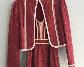 Vintage gunne sax calico sundress with matching jacket