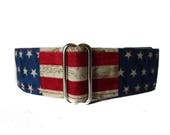 Martingale Dog Collar American Flag, Stars and Stripes Martingale Collar 1.5 Inch Martingale, 1.5 Inch Dog Collar, Greyhound Collar