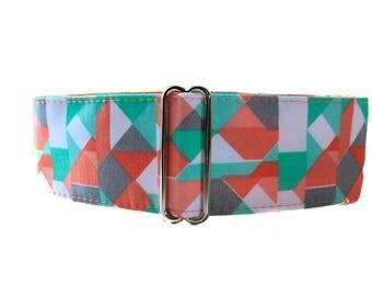 Aqua Martingale Collar, 2 Inch Martingale Collar, Coral Dog Collar, Greyhound Collar, Aqua and Pink Wide Dog Collar, Aqua Dog Collar