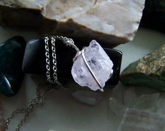 Pink Kunzite Natural Raw Crystal Pendant