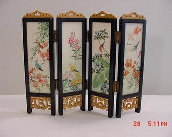 Vintage Asian - Chinese Or Japanese - Hand Painted Glass Panels Screen  17 - 719