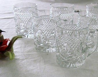 6 Cristal D'Arques-Durand Crystal Clear Glass Coffee/Tea/Mulled Wine Latte Mugs Antique Pattern Made In France