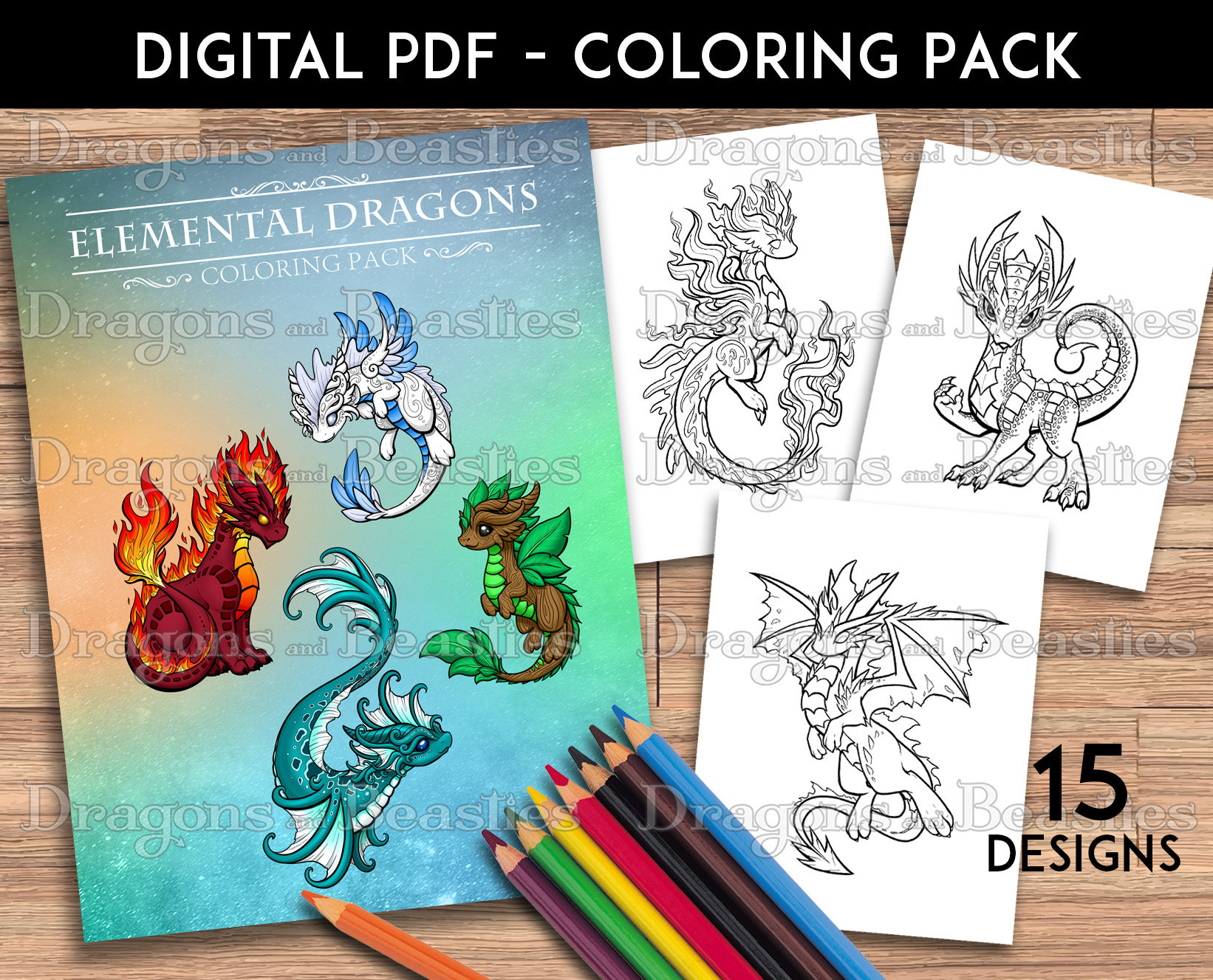 Color Pack Elemental Dragons Kids Adult Coloring Pages