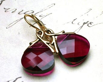 ON SALE Briolette Crystal Earrings in Ruby Red and Gold - Handmade with Swarovski Crystal and 18K Gold Vermeil - Free Shipping