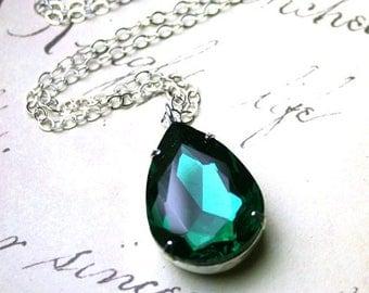 ON SALE Emerald Green Pear Shaped Vintage Jewel Pendant - Dark Green Crystal Teardrop Necklace - Sterling Silver