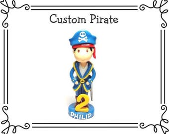Custom Cold Porcelain Pirate Cake Topper, Personalized Clay Pirate Figurine, Pirate Birthday Cake Topper, Pirate Party Keepsake, Pirate Gift