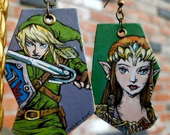 Link and Princess Legend of Zelda - hand-painted wearable comic book art video game earrings