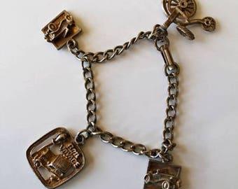 AWAY SALE 20% off vintage 1960s charm bracelet - CLASSICAL Car collector charm bracelet
