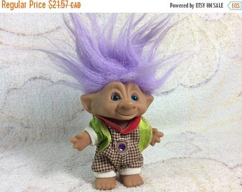 20% SALE Vintage Ace Novelty Co Jewel Belly Troll Doll 1990s Kids Toy Purple Hair Original Outfit Adorable