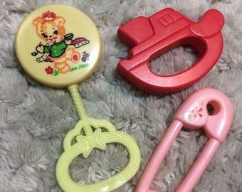 SUMMER SALE Vintage Baby Rattles Plastic Kids Babies Toddlers Children Retro Collectible 60s 70s