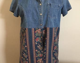 Woman's Hand Crafted Upcycled Recycled Blue Floral Denim Tunic Top Size Large