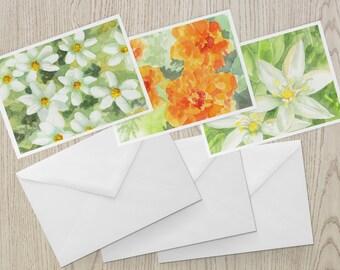 Watercolor Flowers Note Card Set