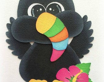Adorable toucan bird zoo animal premade paper piecing 3d die cut by my tear bears kira