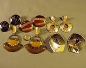 RESERVED FOR LAURA - Vintage Lot Berebi Signed 4 Pairs Enamel Pierced Earrings 1 Pair Clips 9274