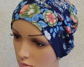Blue floral jersey cap, chemotherapy hat, cancer bonnet, chemo head wear, stretchy sleeping hat, hair loss beanie, handmade skull cap