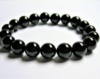 Black onyx - 10mm round beads - 19 beads - 1 set - A quality - HSG82