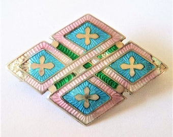 Antique Sterling Enamel Brooch... Lilac Aqua & Green... Birmingham 1910 British Hallmark