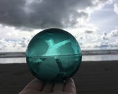 Japanese Glass Fishing Float, Tri Mold, Teal Blue, Alaska Beachcombed