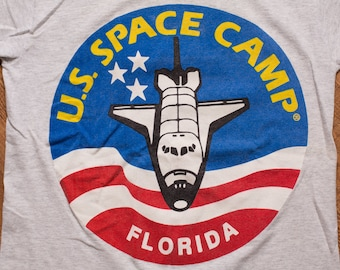 US Space Camp Logo T-Shirt, Florida, Vintage 90s, NASA Astronaut, Outerspace Shuttle, Sherry's Best