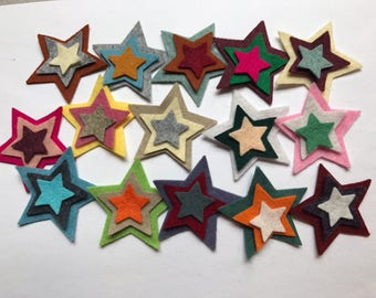 "Wool Felt Star Die Cut 45 ct. - Sizes 1 - 2"" Random Colored 4126 - Kids Crafts - Crafting Supply - Felt Board - Arts and Crafts - DIY Felt -"