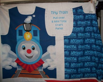 TINY TRAIN Pullover COSTUME and Mini Tote fabric craft Panel to cut and sew