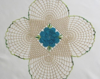 Vintage 13 Inch Hand Crochet Tan and Turquoise Floral Doily